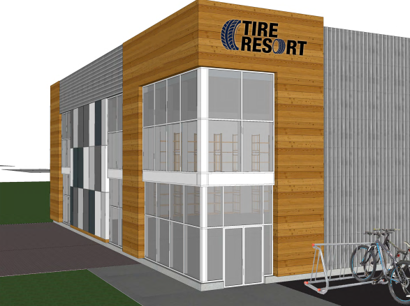 Architect's design concept: Tire Resort Inc.'s 26,000 square-foot facility to be built at 6150 Don Murie Street