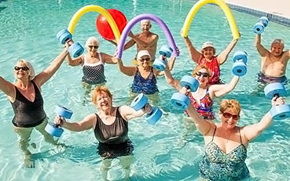 Ladies doing aqua exercise