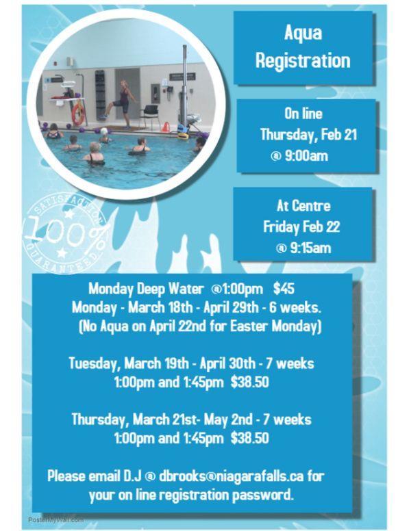 Poster: Aquatics Class Registration (online or at the Coronation Centre)
