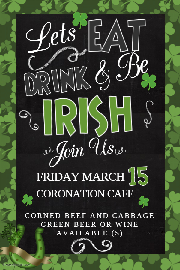 St Patricks poster for Corned Beef and Cabbage. Friday, March 15th