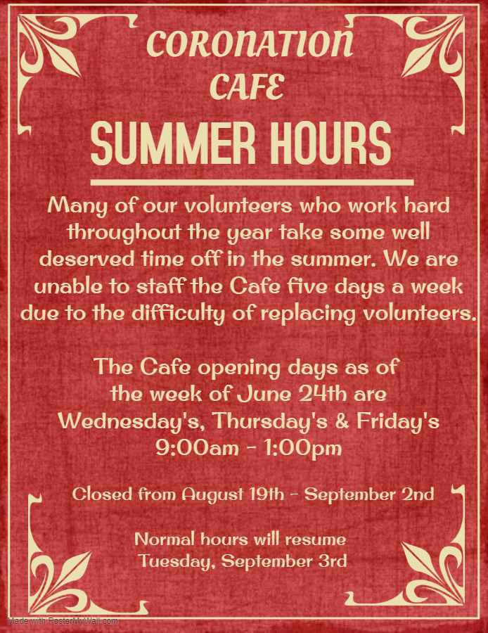 New Summer Hours in Cafe