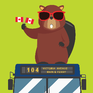 A cartoon beaver atop the 104 bus, wears red sunglasses and waves two small Canadian flags