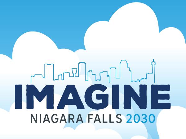 Imagine Niagara Falls 2030 logo on a blue sky background