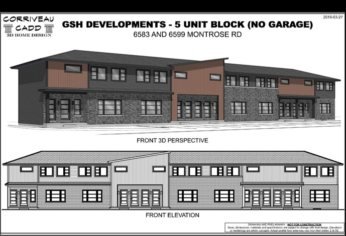 Rendering of the proposed 26 unit townhouse on Montrose Road