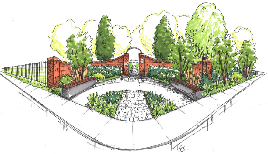 Rendering of proposed landscape and corner gateway feature