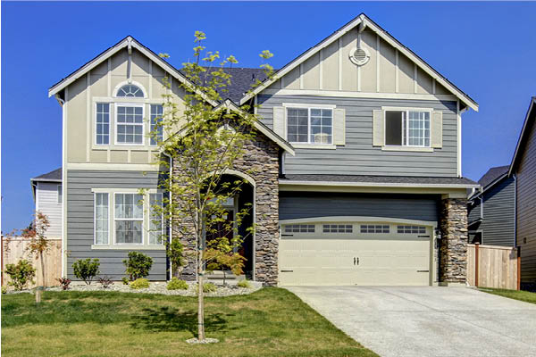 A newly built house in a residential subdivision
