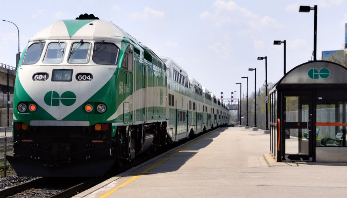 GO Train arriving at station