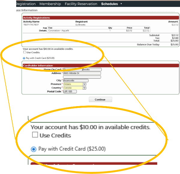 Screen shot: Registration page showing $10 credit for cancelled class.