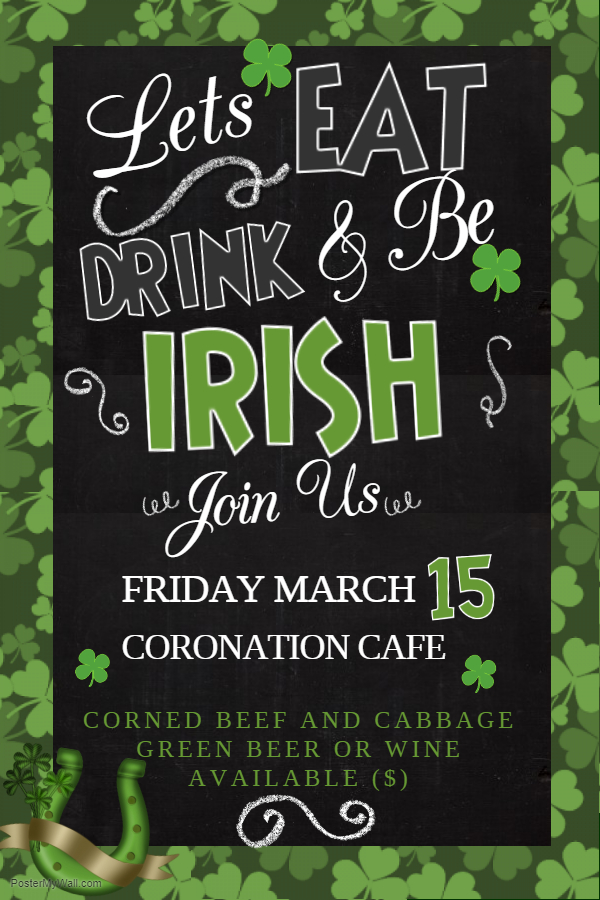 Poster: St. Patrick's Day special menu at the Cafe