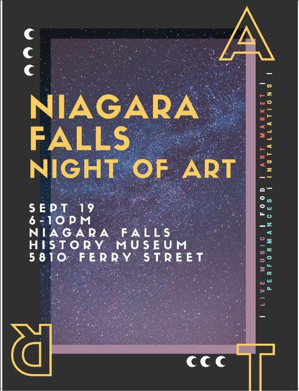 Niagara Falls Night of Art poster, September 19, 6-10pm, Niagara Falls History Musuem, 5810 Ferry Street