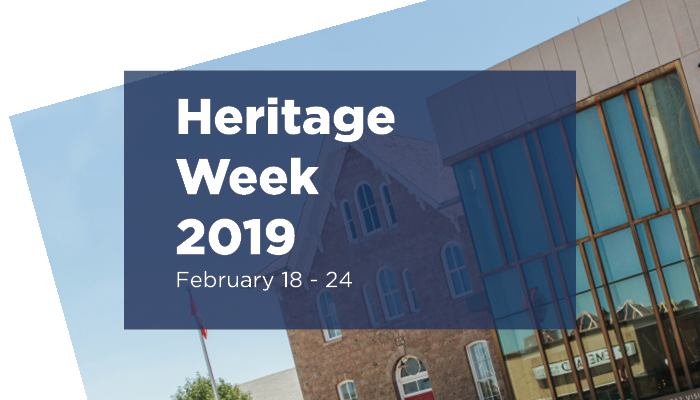 "The Niagara Falls History Museum with text overlay, ""Heritage Week 2019: February 18-24"""