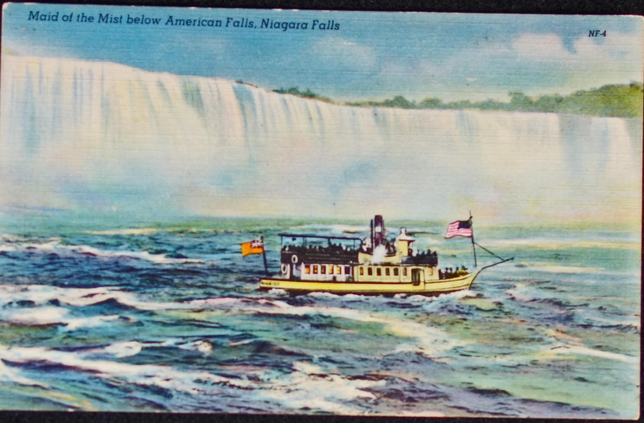 A postcard of Maid of the Mist.