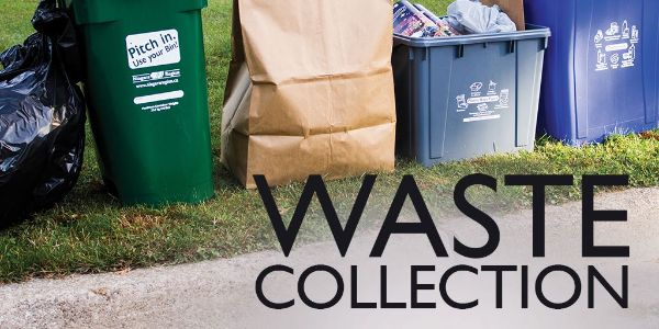 Image courtesy of Niagara Region: all types of local waste bins lined up at the curb