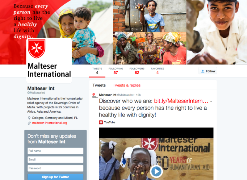 Malteser International Twitter page
