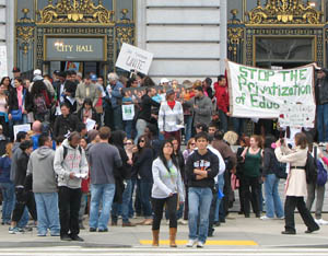 A throng of City College of San Francisco students and other supporters of public education descend on City Hall during a March 14, 2013, rally. Photo: Nancy Reiko Kato / FS