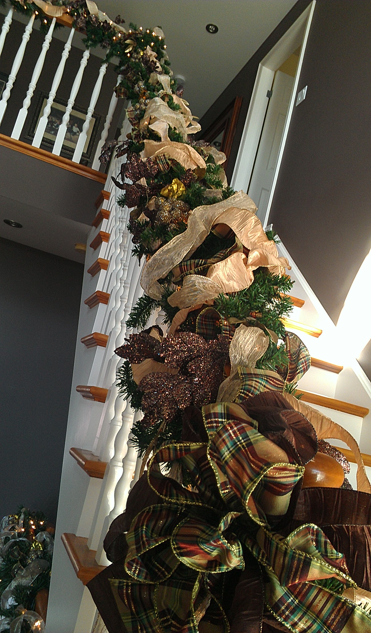 A banister ready for Christmas!