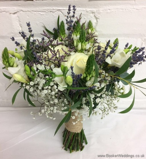 Semi-wild Bridal Bouquet with lots of texture, including roses, freesia, chinnies, lavender, gypsophila, wax flowers and eucalyptus Side View