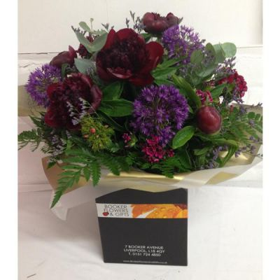 Red and Purple Peony and Allium Hand Tied Bouquet