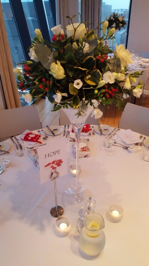 Martini Glass Table Centrepiece Arrangement White roses and Red Hypericum