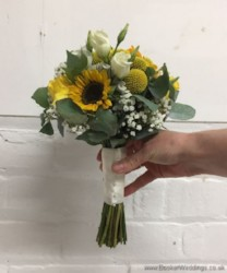 Bridesmaid hand tied bouquet in yellows