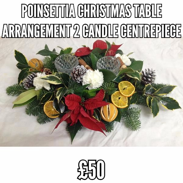 Poinsietta Christmas Table Arrangement 2 Candle Centrepiece