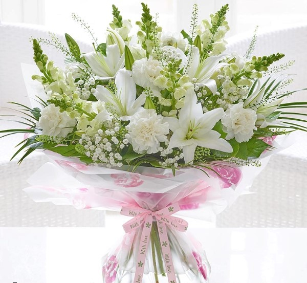Mothers Day white Lily hand tied bouquet