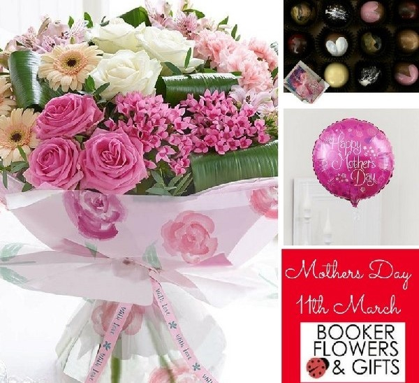 Mothers Day flowers, chocolates and balloon gift set