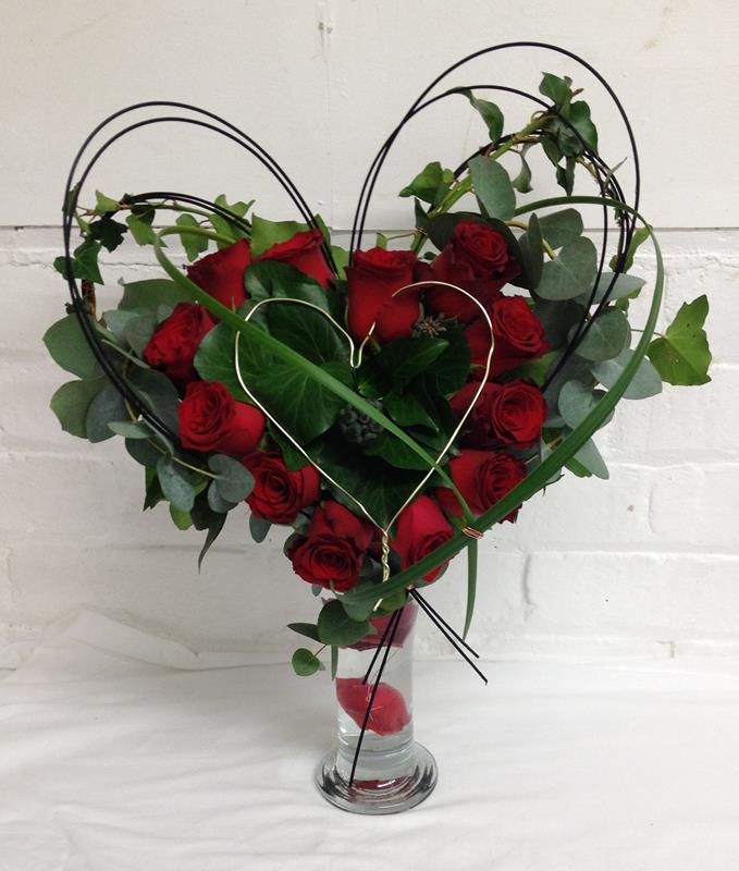 Valentine Dozen Red Rose Heart Vase Arrangment