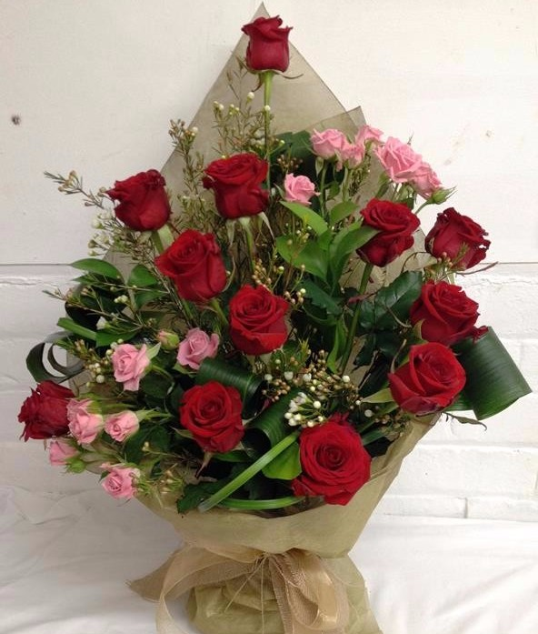 Valentines Luxury Dozen Red Roses Hand Tied Bouquet