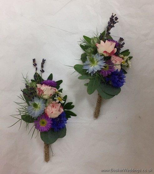 2 wild rustic pin corsages