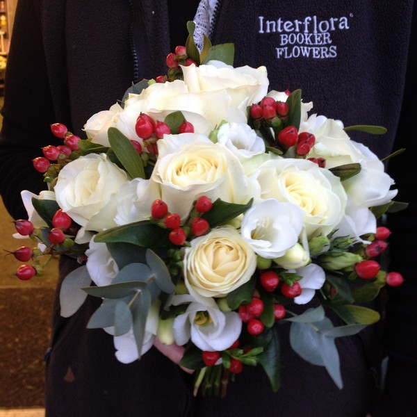 Bridal Bouquet White Roses and Red Hypericum