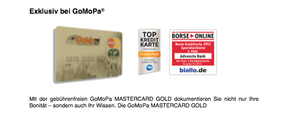 GoMoPa Mastercard GOLD - Bonität und wissen