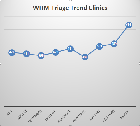 Graph showing rising numbers of triage cases during winter and spring 2019