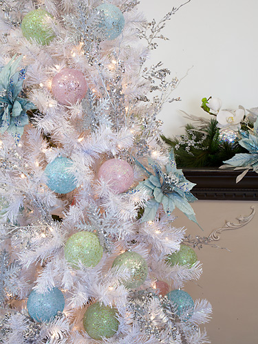 Pastel Sparkled Ornaments on Prelit White Tree