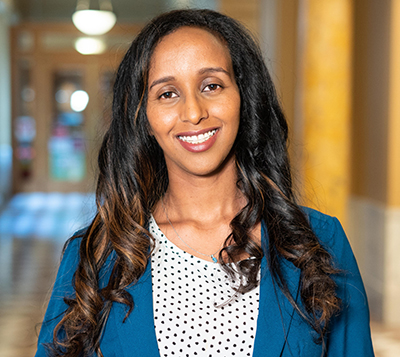 Portrait of Winta Yohannes posing in City Hall