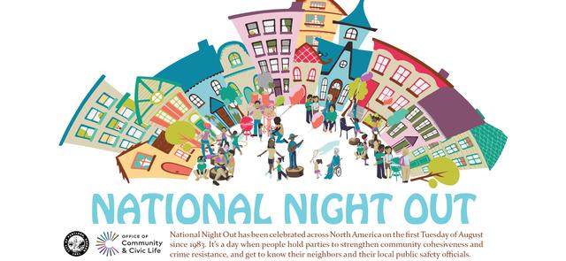 National Night Out logo, a cartoon of a street with people gathered in the square