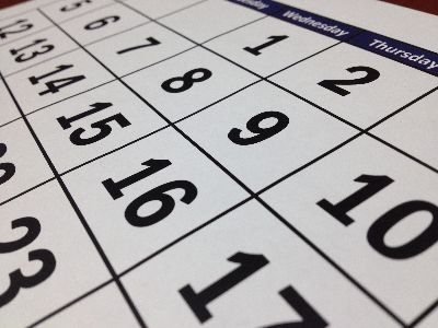 Close up of a calendar