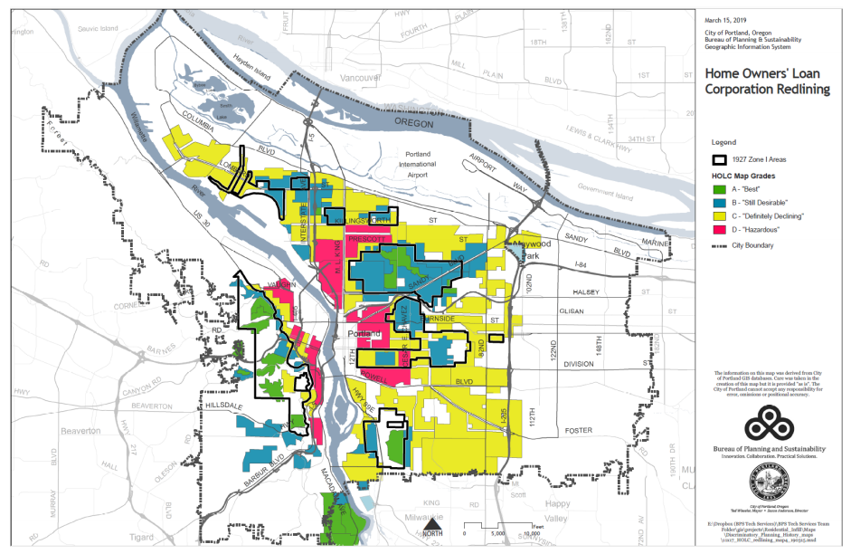 Map of Portland showing Home Ownership and Zone 1 boundaries