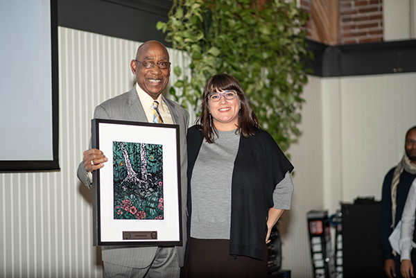 Commissioner Chloe Eudaly presenting an award during the 2018 Spirit of Portland award ceremony.