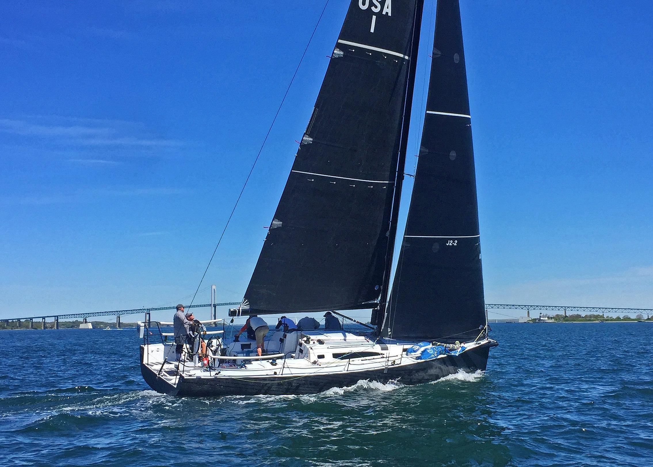 J/121 sailing off Newport, RI