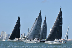 J/111s sailing off starting line