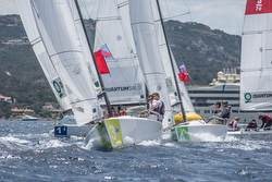 J/70s sailing YC Costa Smeralda team race