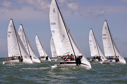 J/70s sailing off United Kingdom on Solent