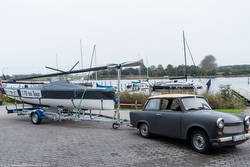 J/70 sailboat and Russian Trabant towing vehicle