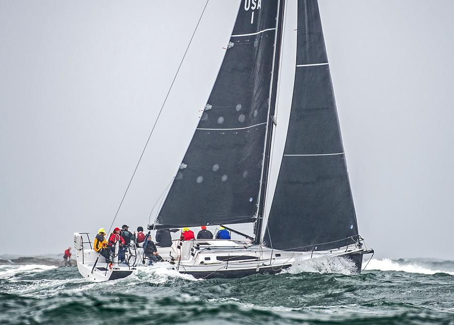 J/121 sailing off Beavertail Point