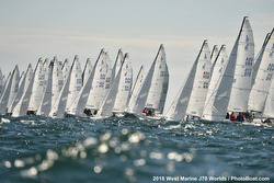 J/70s sailing off start- Worlds