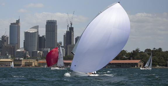 J/70 sailing, planing downwind- Sydney Harbour, Australia