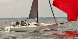 J/88 family speedster sailing off Newport