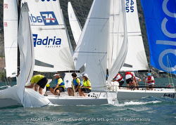 Claudia Rossi sailing Infant Terrible at Alcatel J/70 Cup