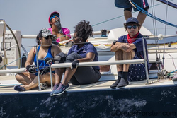 J/109 crew enjoying sailing